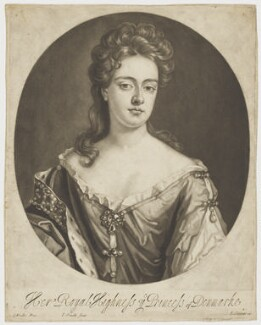 Queen Anne when Princess of Denmark, probably by Isaac Beckett, published by  Edward Cooper, after  Sir Godfrey Kneller, Bt - NPG D9232