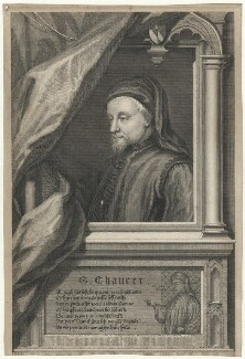 Geoffrey Chaucer, by George Vertue, after  Unknown artist - NPG D33018