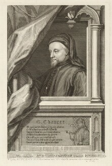 Geoffrey Chaucer, by George Vertue, after  Unknown artist - NPG D33019