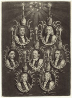 The Seven Bishops Committed to the Tower in 1688, possibly published by John Smith, after  Unknown artist - NPG D30897