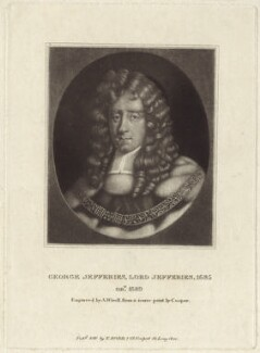 George Jeffreys, 1st Baron Jeffreys of Wem, by Abraham Wivell, published by  Thomas Rodd the Elder, after  Sir Godfrey Kneller, Bt - NPG D30920