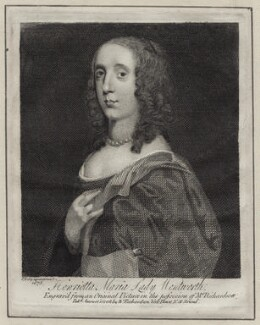 Unknown woman engraved as Henrietta Maria Wentworth, 6th Baroness Wentworth, published by William Richardson, after  Sir Peter Lely - NPG D30995