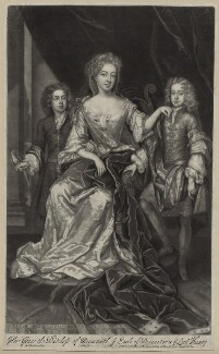 James Scott, Earl of Dalkeith; Anna Scott, Duchess of Monmouth and Duchess of Buccleuch; Henry Scott, 1st Earl of Deloraine, by and published by John Smith, after  Sir Godfrey Kneller, Bt, 1688 - NPG D31005 - © National Portrait Gallery, London