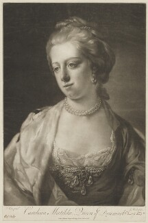 Caroline Matilda, Queen of Denmark, by James Watson, sold by  Ryland and Bryer, after  Francis Cotes - NPG D33049