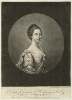 Sophia Charlotte of Mecklenburg-Strelitz, by Richard Houston, published by  John Bowles, and published by  Robert Sayer, after  Thomas Frye, 1761 - NPG D33074 - © National Portrait Gallery, London