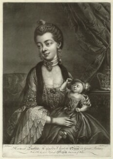Charlotte of Mecklenburg-Strelitz; King George IV when Prince of Wales, by Richard Houston, published by  Robert Sayer, after  Robert Pyle - NPG D33075