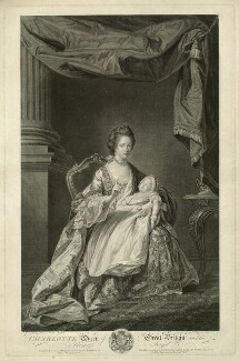 Charlotte of Mecklenburg-Strelitz; Charlotte Augusta Matilda, Princess Royal, by and published by William Wynne Ryland, after  Francis Cotes - NPG D33076