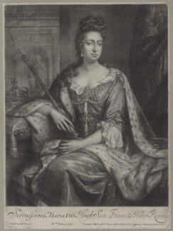 Queen Mary II, by William Faithorne Jr, published by  Robert Sayer, after  Jan van der Vaart - NPG D31067
