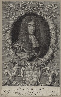 King James II, by Robert White, after  Unknown artist, published by  Samuel Lowndes - NPG D31089
