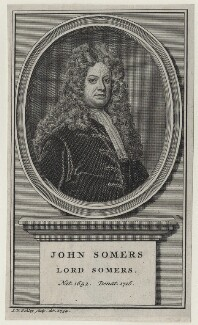 John Somers, Baron Somers, by Jakob van der Schley, possibly after  Jonathan Richardson - NPG D31095