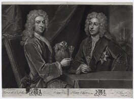 Thomas Pelham-Holles, 1st Duke of Newcastle-under-Lyne; Henry Clinton, 7th Earl of Lincoln, by John Faber Jr, after  Sir Godfrey Kneller, Bt, 1733 - NPG D33099 - © National Portrait Gallery, London