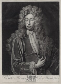 Charles Montagu, 1st Duke of Manchester, by John Faber Jr, after  Sir Godfrey Kneller, Bt - NPG D33100
