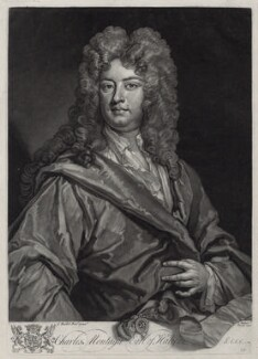 Charles Montagu, 1st Earl of Halifax, by John Faber Jr, after  Sir Godfrey Kneller, Bt - NPG D33111