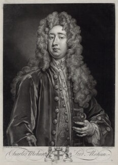 Charles Mohun, 4th Baron Mohun, by John Faber Jr, after  Sir Godfrey Kneller, Bt - NPG D33115
