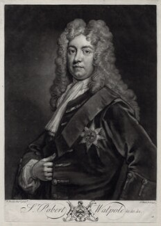 Robert Walpole, 1st Earl of Orford, by John Faber Jr, after  Sir Godfrey Kneller, Bt - NPG D33120