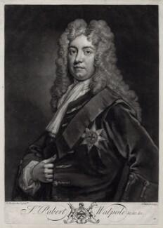 Robert Walpole, 1st Earl of Orford, by John Faber Jr, after  Sir Godfrey Kneller, Bt, 1733 - NPG D33120 - © National Portrait Gallery, London