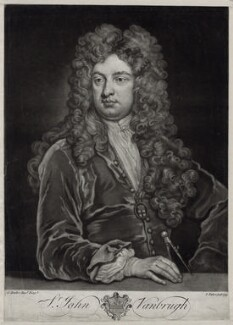 Sir John Vanbrugh, by John Faber Jr, after  Sir Godfrey Kneller, Bt - NPG D33121