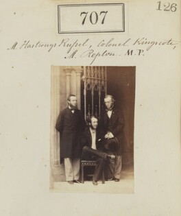 Francis Charles Hastings Russell, 9th Duke of Bedford; Sir Robert Nigel Fitzhardinge Kingscote; George William John Repton, by Camille Silvy - NPG Ax50350