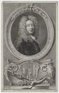 Sir Samuel Garth, by Jacobus Houbraken, published by  John & Paul Knapton, after  Sir Godfrey Kneller, Bt - NPG D31257