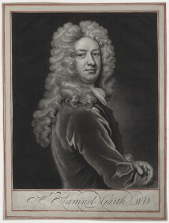 Sir Samuel Garth, by and published by John Simon, after  Sir Godfrey Kneller, Bt - NPG D31258