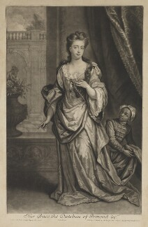 Mary Butler (née Somerset), Duchess of Ormonde and an unknown boy, by and published by John Smith, after  Sir Godfrey Kneller, Bt - NPG D31315