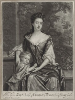 Mary Butler (née Somerset), Duchess of Ormonde and her son Thomas, Earl of Ossory, by and published by John Smith, after  Sir Godfrey Kneller, Bt - NPG D31316
