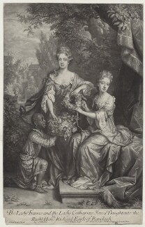 Frances Coningsby (née Jones), Lady Coningsby; Lady Catherine Jones, by John Smith, published by  Edward Cooper, after  Jan van der Vaart, after  Willem Wissing - NPG D31354