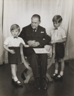 Jonathan Charles Hope, 3rd Baron Glendevon; Somerset Maugham; Julian John Somerset Hope, 2nd Baron Glendevon, by Madame Yevonde - NPG x21270