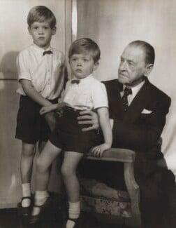 Julian John Somerset Hope, 2nd Baron Glendevon; Jonathan Charles Hope, 3rd Baron Glendevon; Somerset Maugham, by Madame Yevonde - NPG x21269