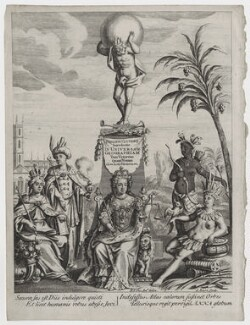 Queen Anne with four human figures representing the continents, by John Sturt, after  Bernard Lens (II) - NPG D31370