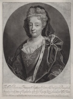 Princess Sophia, Electress of Hanover, by and published by John Smith, possibly after  Friedrich Wilhelm Weidemann - NPG D31375