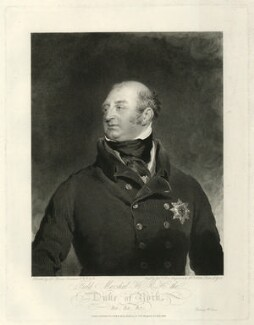 Frederick, Duke of York and Albany, by George Thomas Doo, published by  Hurst, Robinson & Co, after  Sir Thomas Lawrence - NPG D33219