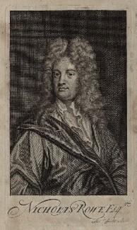 Nicholas Rowe, by Michael Vandergucht, after  Sir Godfrey Kneller, Bt - NPG D27315