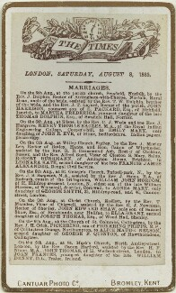 'The Times, London, Saturday, August 8, 1885' (marriage announcement for John Thomas and Joan Frances Thomas (née Denny)), by Cantuar Photographic Co - NPG x131785