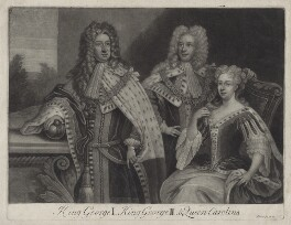 King George I; King George II; Princess Caroline Elizabeth, by and published by John Simon, after  Unknown artist, mid 18th century - NPG D27410 - © National Portrait Gallery, London