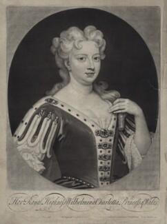 Caroline Wilhelmina of Brandenburg-Ansbach, by and published by John Smith, after  Sir Godfrey Kneller, Bt, 1717 (1716) - NPG D27416 - © National Portrait Gallery, London