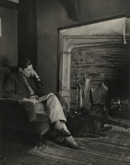 Arthur Koestler with his dog Attila, by Madame Yevonde - NPG x13966