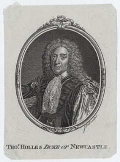Thomas Pelham-Holles, 1st Duke of Newcastle-under-Lyne, by John Hall, after  Sir Godfrey Kneller, Bt - NPG D27423