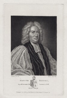 Edmund Gibson, by Burnet Reading, published by  Thomas Rodd the Younger, published by  Horatio Rodd, after  John Vanderbank - NPG D27445