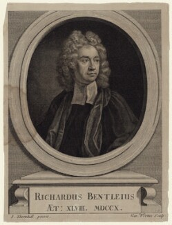 Richard Bentley, by George Vertue, after  Sir James Thornhill - NPG D27458