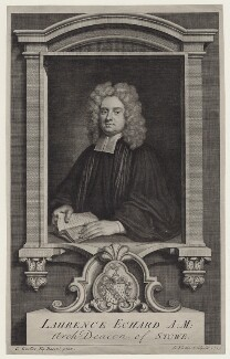 Laurence Echard, by George Vertue, after  Sir Godfrey Kneller, Bt - NPG D27460