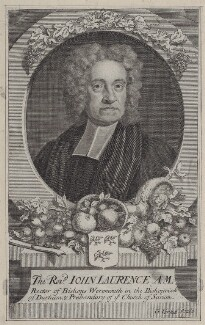 John Laurence, by George Vertue, after  Unknown artist - NPG D27465