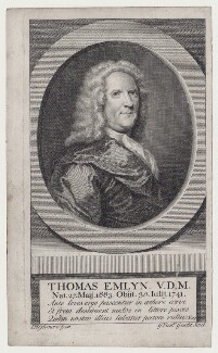 Thomas Emlyn, by Gerard Vandergucht, after  Joseph Highmore - NPG D27504