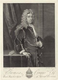 James Craggs the Elder, by George Vertue, after  Sir Godfrey Kneller, Bt - NPG D27509