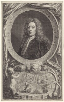 George Byng, 1st Viscount Torrington, by Jacobus Houbraken, published by  John & Paul Knapton, after  Sir Godfrey Kneller, Bt - NPG D27531