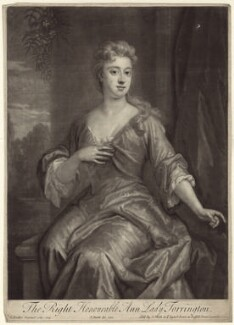 Anne Newport (née Pierrepont or Pierpont), Lady Torrington, by and published by John Smith, after  Sir Godfrey Kneller, Bt, 1720 (1709) - NPG D27634 - © National Portrait Gallery, London