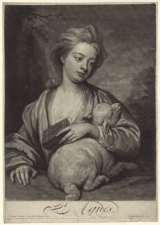 Catherine (née Kneller) Huckle as St Agnes, by and published by John Smith, after  Sir Godfrey Kneller, Bt - NPG D27636