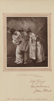 Sibyl (Sybil) Grey, Leonora Braham and Jessie Bond as the Three Little Maids in 'The Mikado', by Herbert Rose Barraud, published by  Carson & Comerford - NPG Ax29217