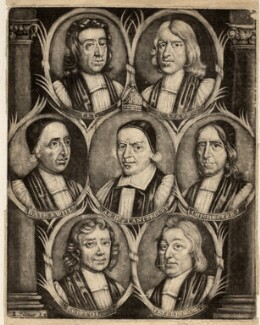 The Seven Bishops Committed to the Tower in 1688, published by R. Palmer, after  Unknown artist - NPG D9285
