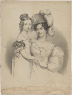 Queen Victoria; Princess Victoria, Duchess of Kent and Strathearn, by Richard James Lane, published by  Joseph Dickinson, after  Sir George Hayter, (1834) - NPG D33562 - © National Portrait Gallery, London